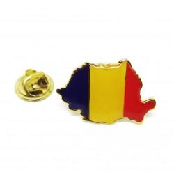 PIN Romania - Harta Romaniei in culorile tricolorului - 25mm