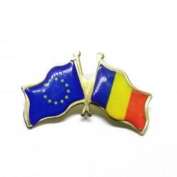 PIN Romania - UE - Drapelurile Romaniei si UE - 40mm