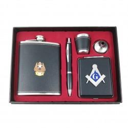 Set Cadou Plosca si Tabachera cu Simboluri Masonice
