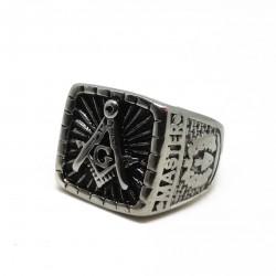 Inel Masonic Argintiu - Echer si Compas cu Litera G