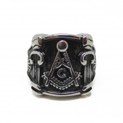 Inel Masonic Argintiu - Echer, compas si coloane