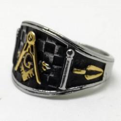 "Inel masonic echer și compas cu litera ""G"" Shriners MM701"