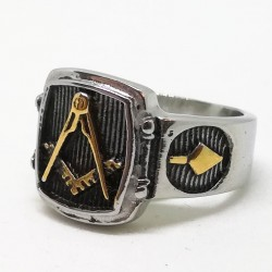 Inel Masonic discret - Silver/Gold Freemason