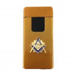 Bricheta electrica Neagra / Aurie cu simbol masonic - incarcare USB - MM875