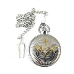 Ceas de buzunar masonic Argintiu cu simbol Auriu