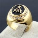 Inel masonic auriu cu zirconiu Gold