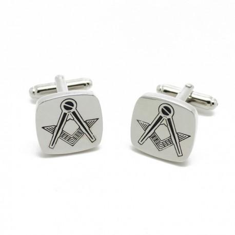 Butoni simboluri masonice - Echer Compas fara litera G - Argintii