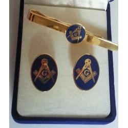 Set doua bijuterii - Echer si compas cu Litera G - Albastru