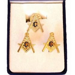 Set 2 bijuterii butoni + pin
