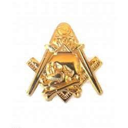 Pin masonic - Cap de mort - auriu