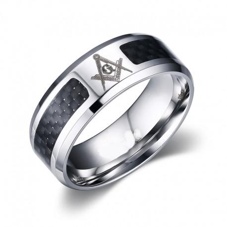 Inel masonic cu insertie de carbon