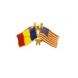 Pin Drapel Romania + Drapel SUA