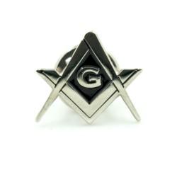 Pin mason Echer si compas cu litera G Silver + Black