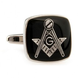 Butonic Cu Simboluri Masonice Patrati Argintii