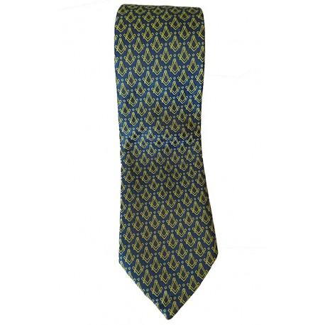 Cravata neagra cu simboluri masonice galbene
