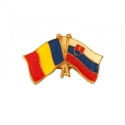 Insigna Drapel Romaniei  Drapel Slovacia PIN515