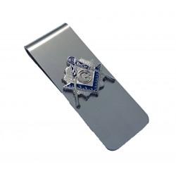 Clips pentru bani cu simbol masonic argintiu MM465