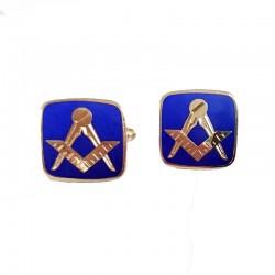 Butoni Camsa cu Simboluri Masonice auriu + albastru